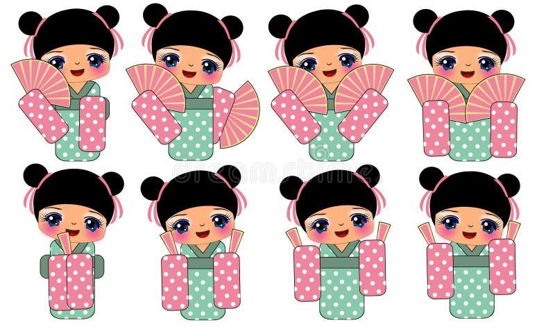 Muchacha en el traje tradicional de Japón stock de ilustración