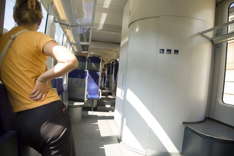 Muchacha en el tren #6 imagen de archivo