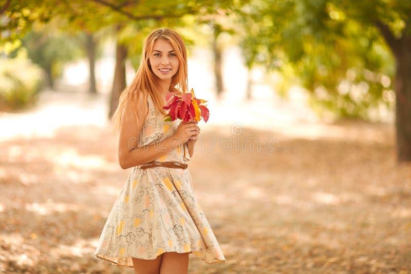Muchacha en el vestido blanco con las hojas de otoño en manos fotografía de archivo