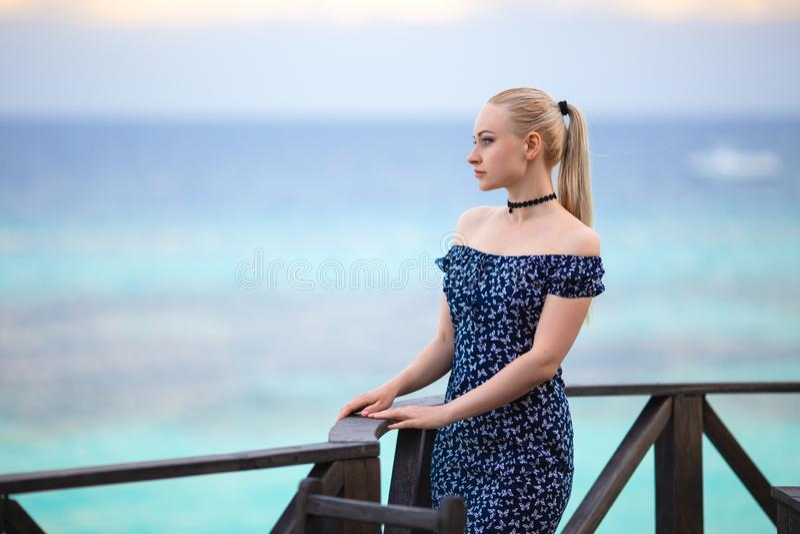Muchacha en el vestido oscuro en la playa rom?ntica fotografía de archivo libre de regalías
