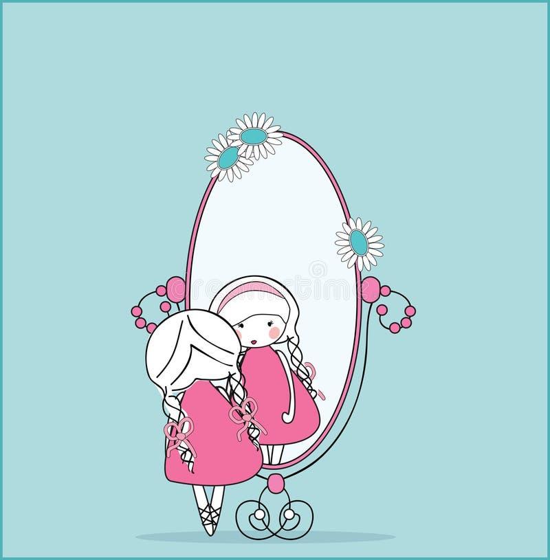 Muchacha en espejo ilustración del vector