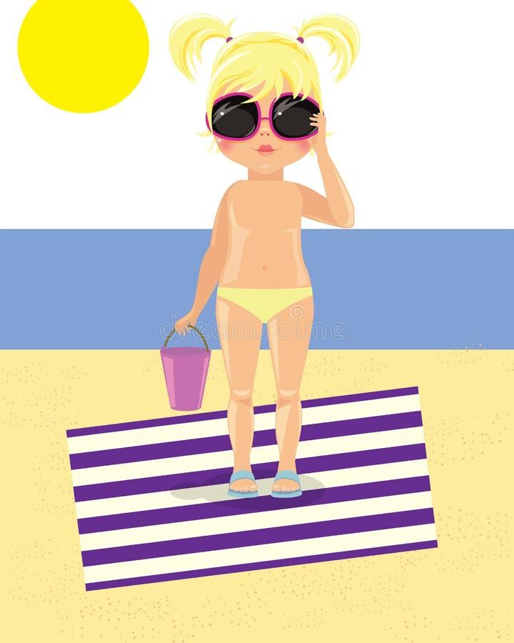 Muchacha en gafas de sol en la playa ilustración del vector