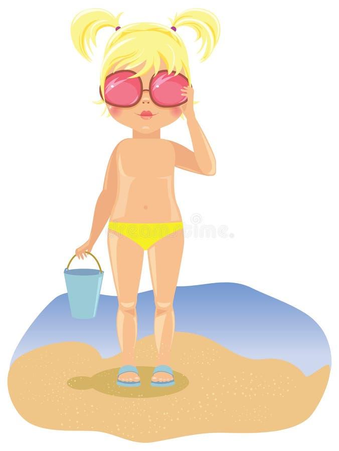 Muchacha en gafas de sol en la playa stock de ilustración