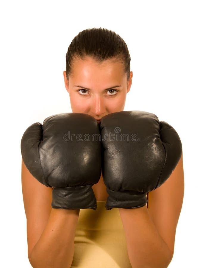 Muchacha en guantes de boxeo imagenes de archivo
