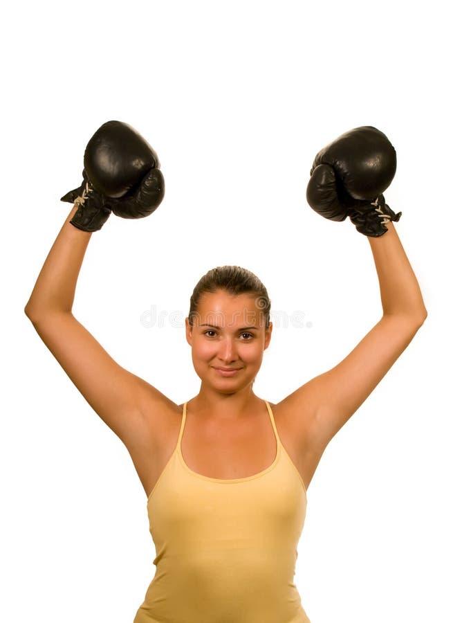 Muchacha en guantes de boxeo fotos de archivo libres de regalías