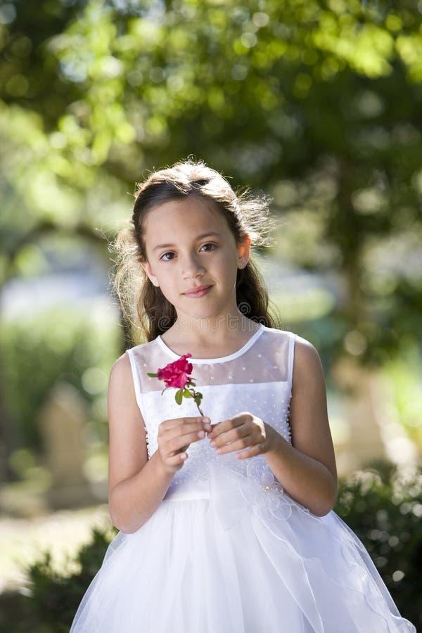 Muchacha en la alineada blanca en flor de la explotación agrícola del parque fotos de archivo