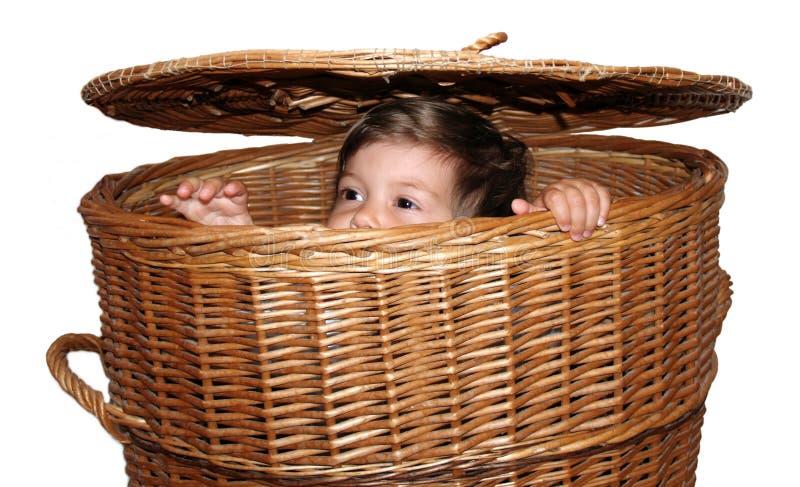 Muchacha en la cesta imagenes de archivo