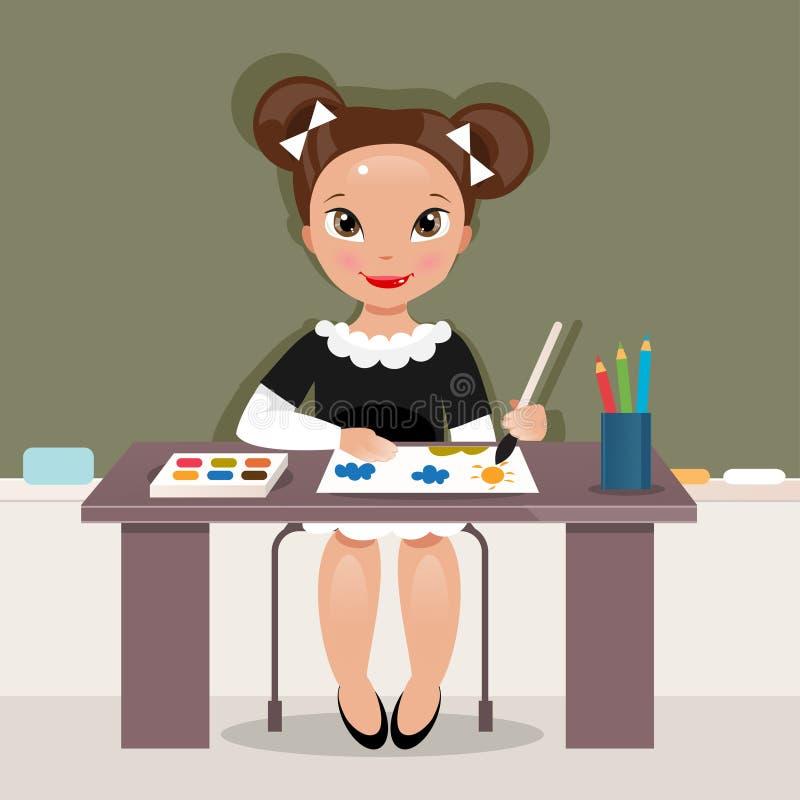 Muchacha en la lección del dibujo Ilustración del vector libre illustration