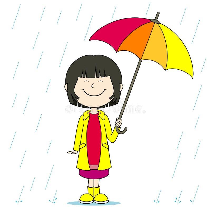 Muchacha en la lluvia ilustración del vector