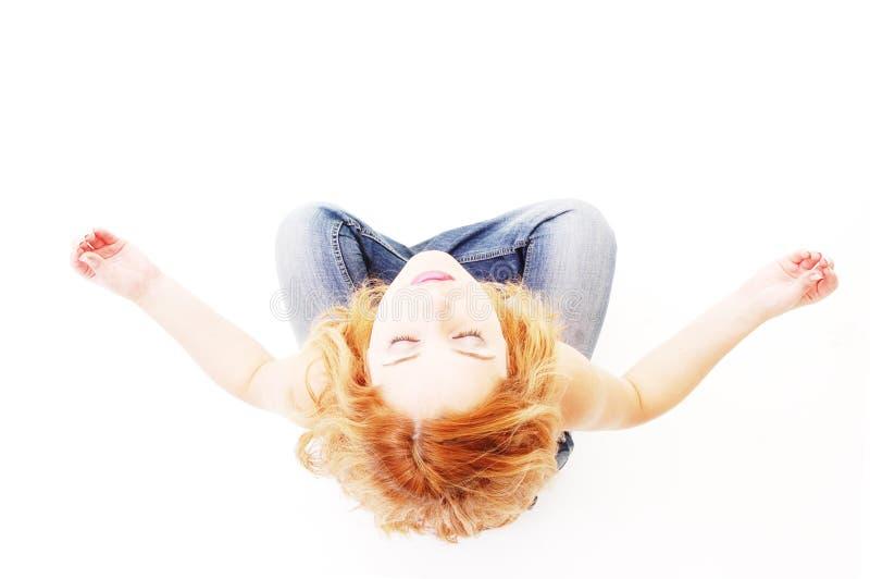 Muchacha en la meditación pose3 fotos de archivo