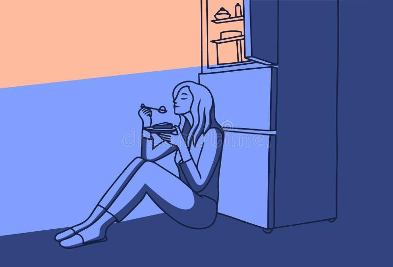 Muchacha en la noche que come una torta del refrigerador Insomnio en la noche en sitio de la cocina de la noche de la oscuridad V ilustración del vector
