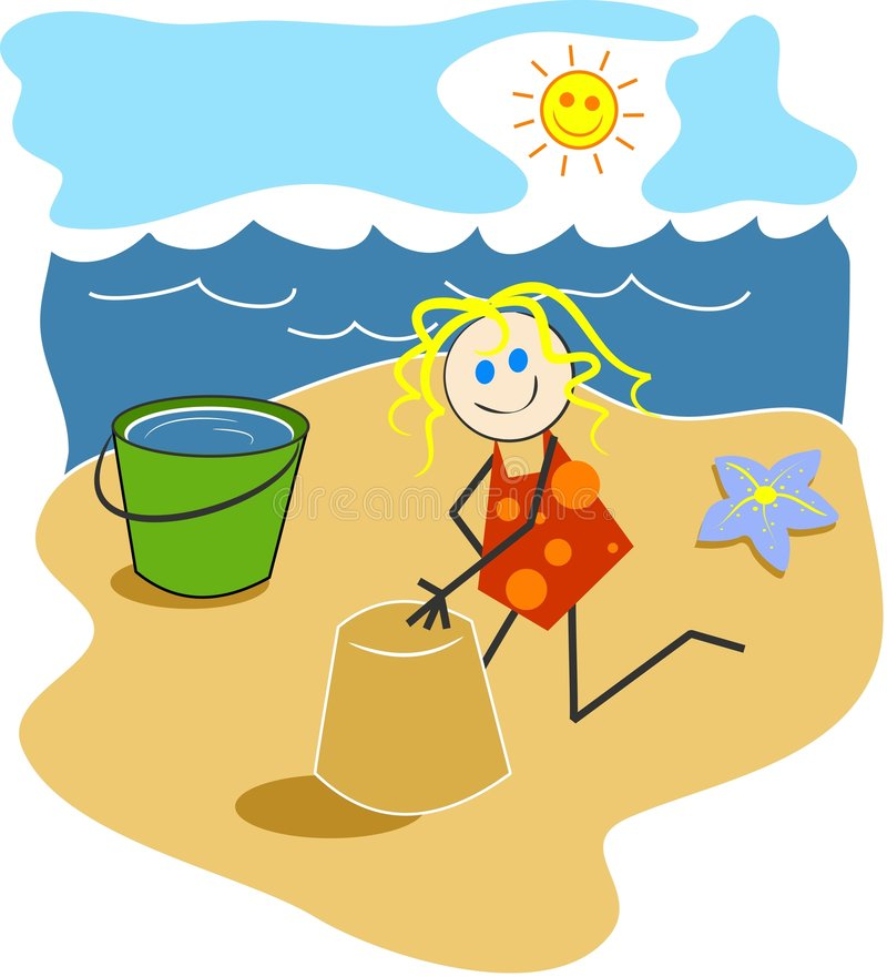 Muchacha en la playa libre illustration