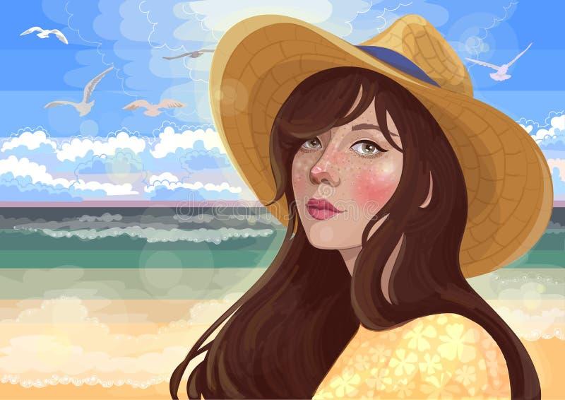 Muchacha en la playa por el mar ilustración del vector