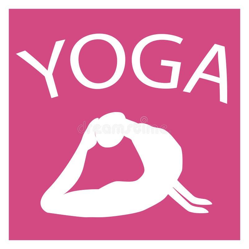 Muchacha en la posición de la yoga Silueta femenina blanca en fondo rosado libre illustration
