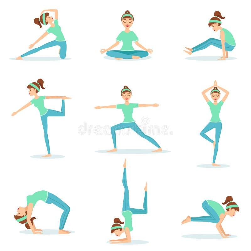 Muchacha en la ropa azul del entrenamiento que demuestra posturas de la yoga stock de ilustración