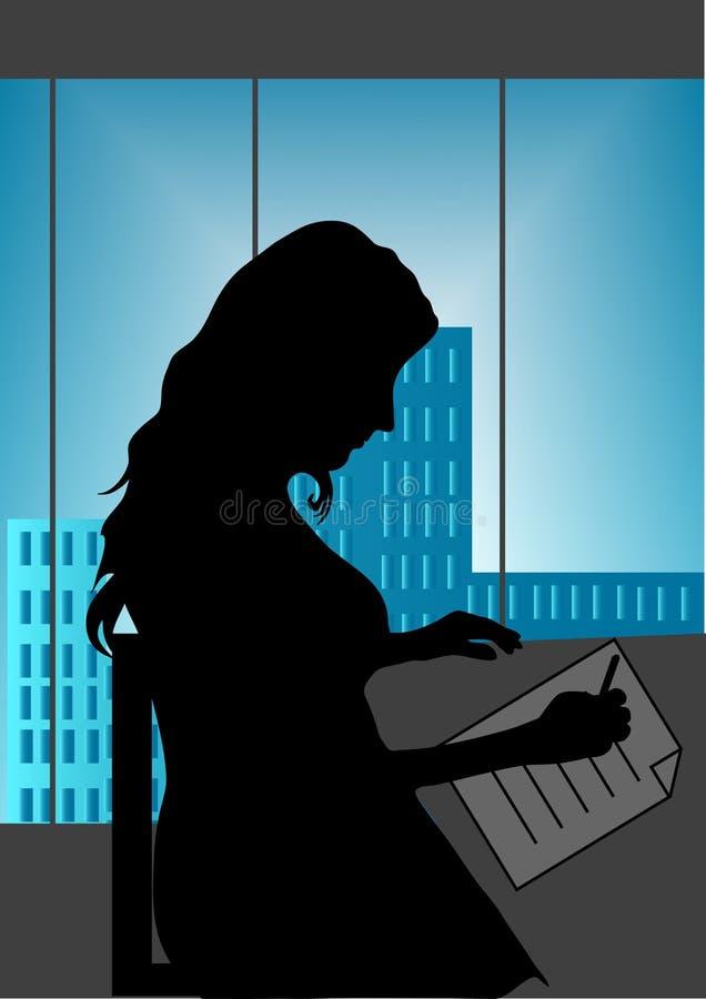 Muchacha en oficina stock de ilustración