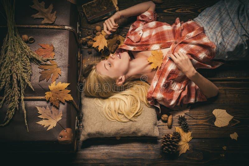 Muchacha en otoño en una hoja de oro del whith estacional de la ropa Concepto del otoño Muchacha hermosa en el tablero de madera  fotos de archivo