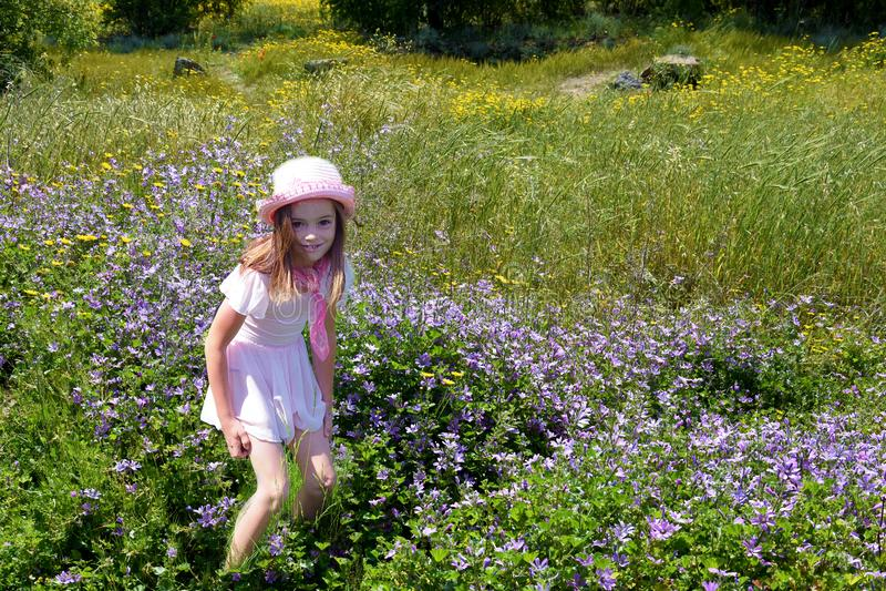 Muchacha en paisaje de la primavera foto de archivo