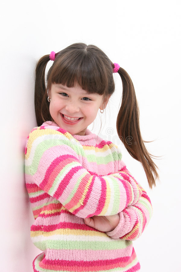 Muchacha en rayas rosadas fotos de archivo libres de regalías