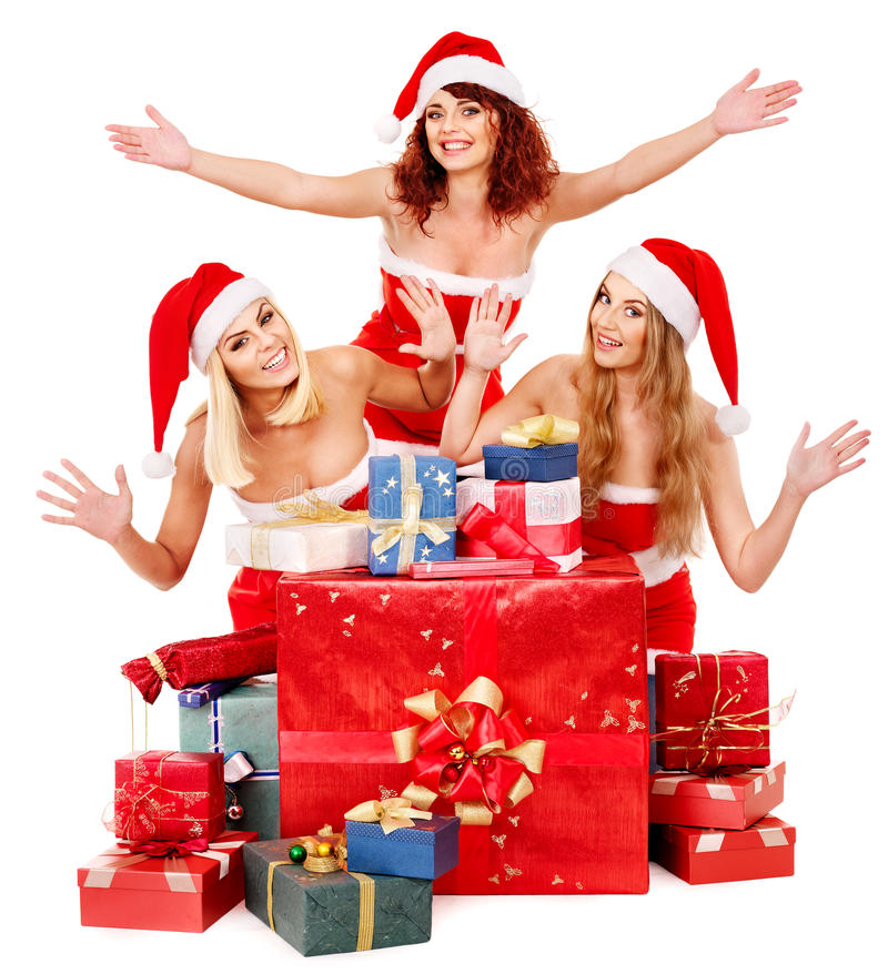 Muchacha en rectángulo de regalo de la Navidad de la explotación agrícola del sombrero de Santa. fotos de archivo libres de regalías