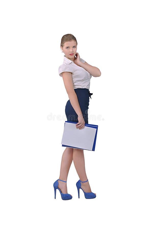 Muchacha en ropa de la oficina fotos de archivo