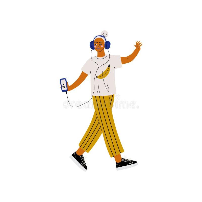 Muchacha en ropa moderna que escucha la música con los auriculares, gente joven creativa de moda con vector moderno del artilugi ilustración del vector
