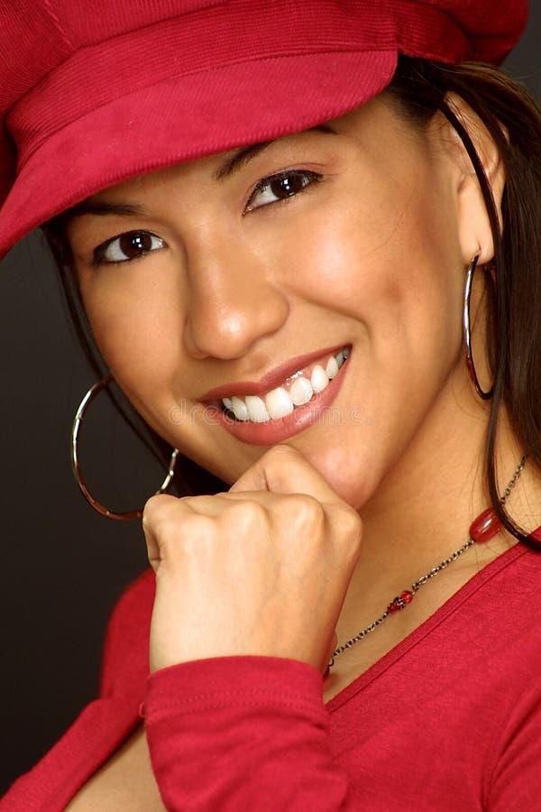 Muchacha en sombrero rojo foto de archivo libre de regalías