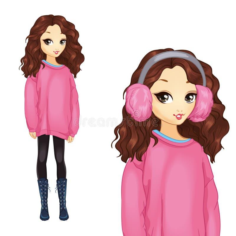 Muchacha en suéter rosado de gran tamaño stock de ilustración