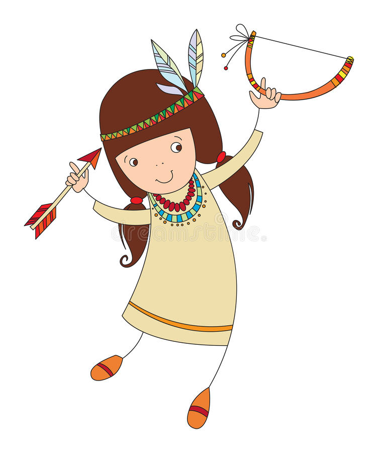 Muchacha en traje del indio septentrional stock de ilustración