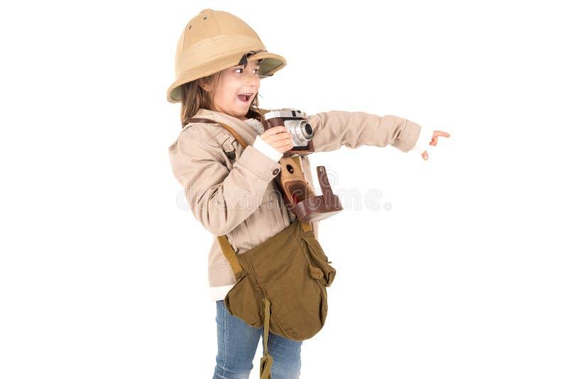 Muchacha en traje del safari fotos de archivo