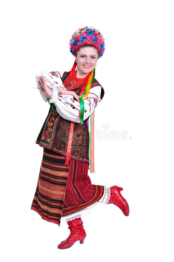 Muchacha en traje (ruso) ucraniano nacional foto de archivo libre de regalías