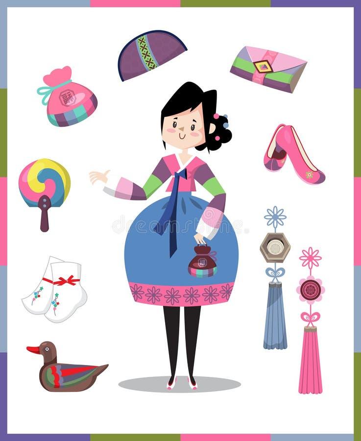 Muchacha en traje y accesorios tradicionales coreanos stock de ilustración