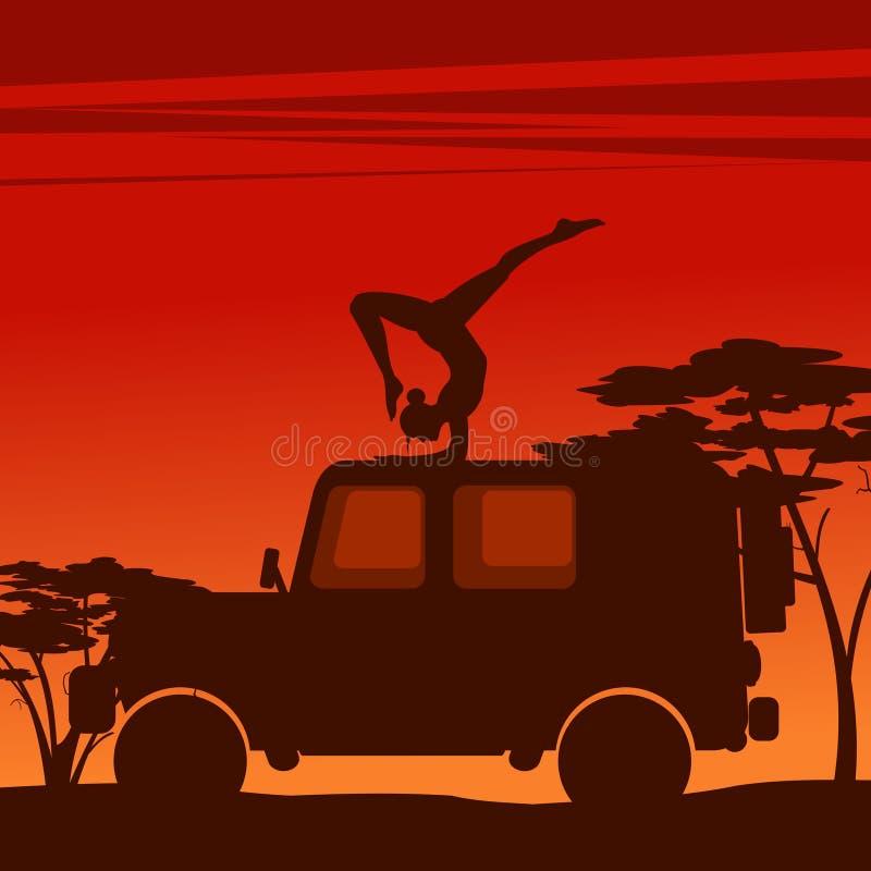 Muchacha en un asana de la yoga stock de ilustración