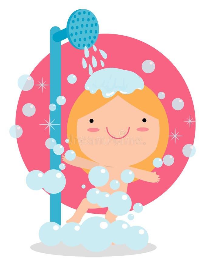 Muchacha en un cuarto de baño que toma una buena ducha, niños que toman la ducha en el cuarto de baño, concepto sano de la forma  stock de ilustración