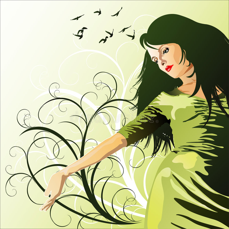 Muchacha en un fondo de la flor libre illustration