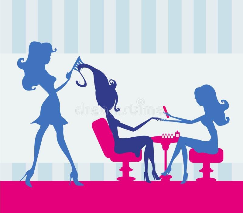 Muchacha en un salón de belleza, una manicura y un peluquero stock de ilustración