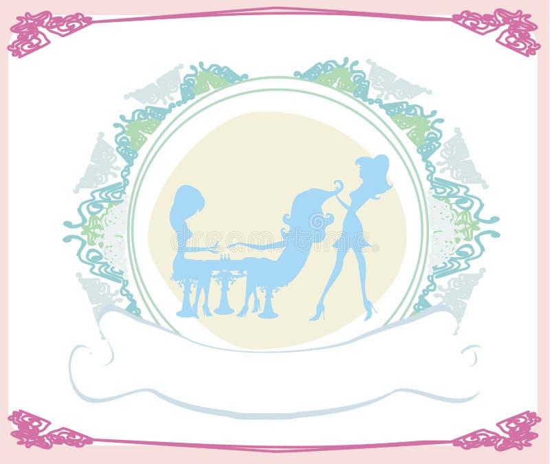 Muchacha en un salón de belleza, una manicura y un peluquero libre illustration