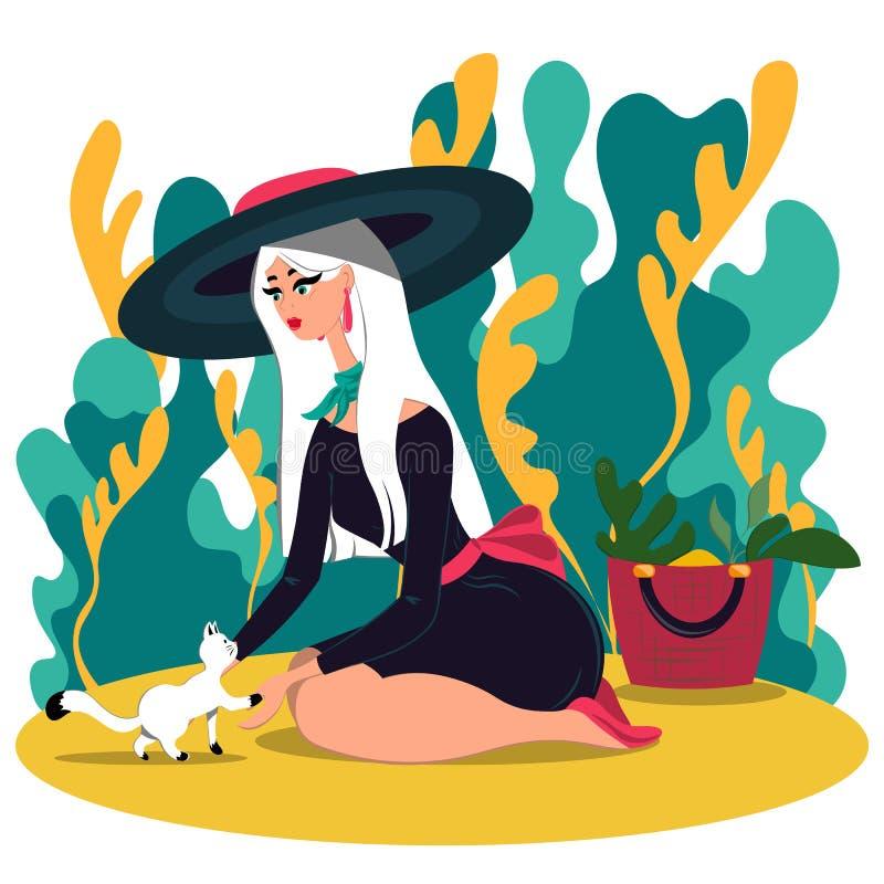 Muchacha en un sombrero hermoso y un pequeño gato blanco en el jardín Ejemplo en estilo plano libre illustration