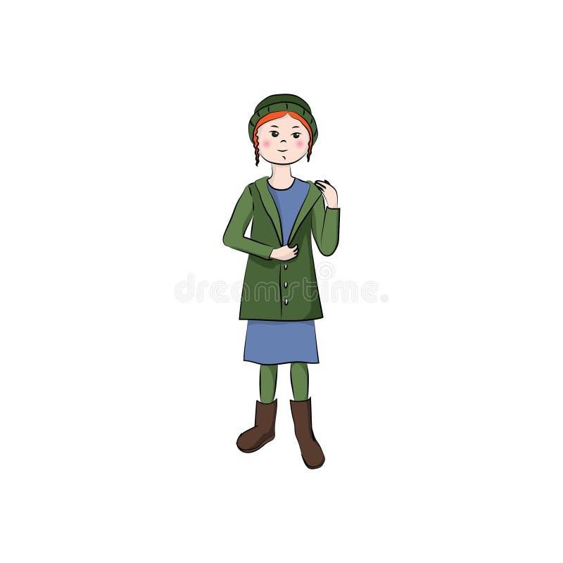Muchacha en un sombrero, una chaqueta y botas Ilustración de color del vector ilustración del vector