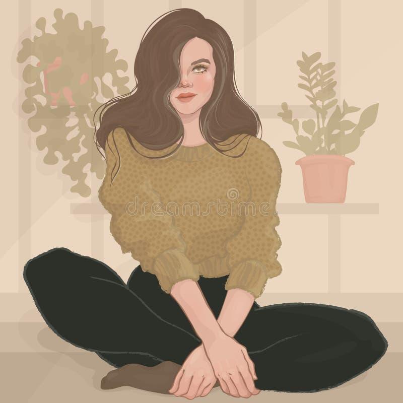 Muchacha en un suéter verde ilustración del vector