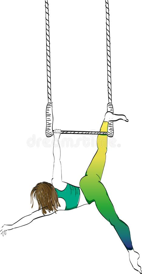 Muchacha en un trapecio del circo stock de ilustración