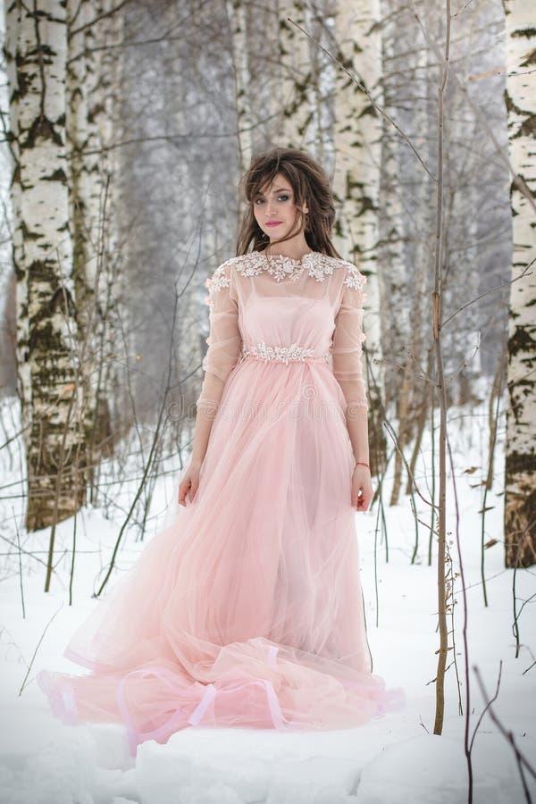 Muchacha en un vestido rosado hermoso en un bosque del invierno fotos de archivo libres de regalías