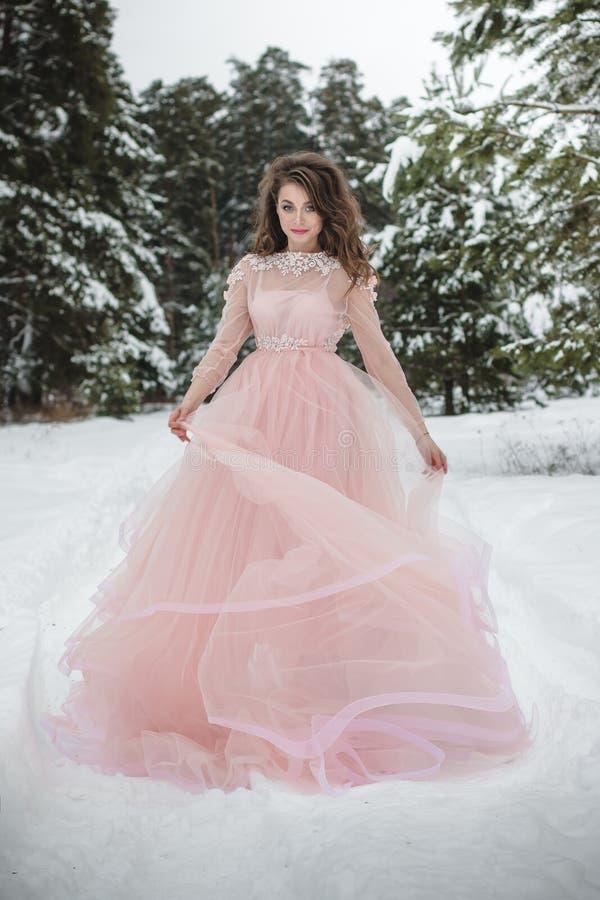 Muchacha en un vestido rosado hermoso en un bosque del invierno fotografía de archivo libre de regalías