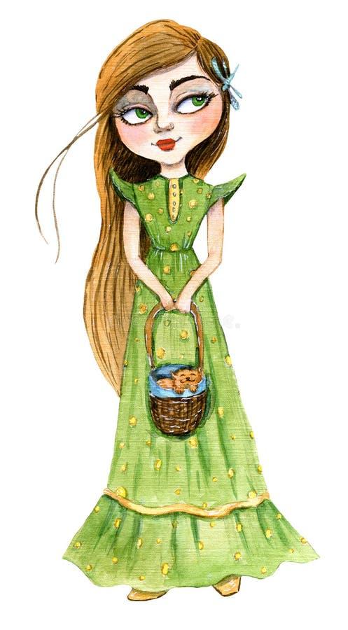 Muchacha en un vestido verde largo con un gatito del jengibre en la cesta libre illustration