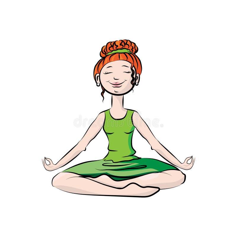 Muchacha en una actitud de la yoga Ilustración de color del vector stock de ilustración
