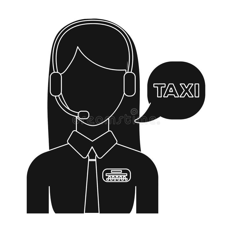 Muchacha en una camisa blanca con los auriculares El encargado del centro de llamada toma una reservación del taxi Icono de la es stock de ilustración