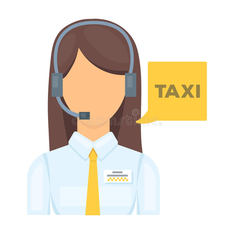 Muchacha en una camisa blanca con los auriculares El encargado del centro de llamada toma una reservación del taxi Icono de la es libre illustration