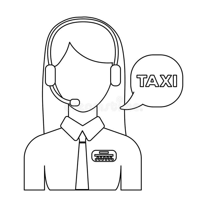 Muchacha en una camisa blanca con los auriculares El encargado del centro de llamada toma una reservación del taxi Icono de la es ilustración del vector