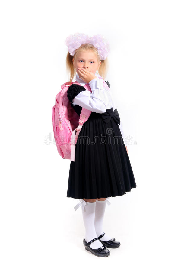 muchacha en uniforme escolar fotos de archivo