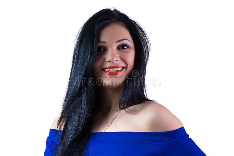 Muchacha en vestido azul imagen de archivo